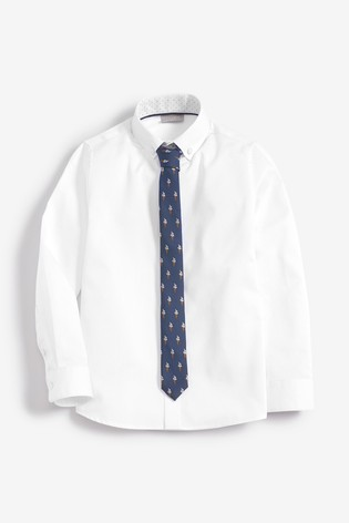 266693cb28 White Long Sleeve Shirt and Tie (3-16yrs)