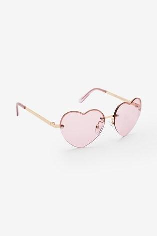 ... Ružová - Kovové slnečné okuliare v tvare srdca ... 60816b59f87