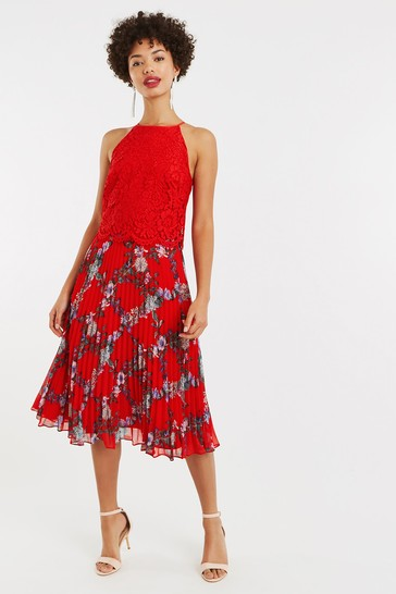 13c254bfd3e5 Buy Oasis Red Bloom Lace Pleat Midi Dress from Next Ireland