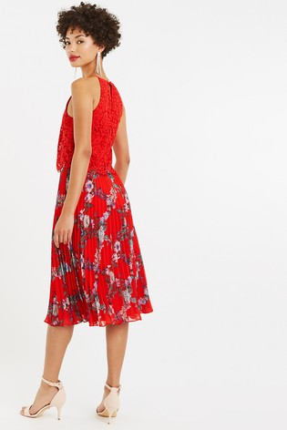 ab113c12cf2e Buy Oasis Red Bloom Lace Pleat Midi Dress from the Next UK online shop