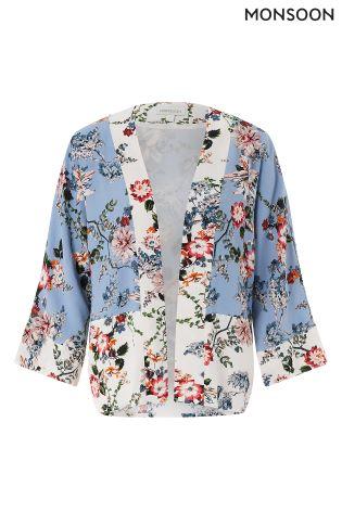 7e27d31aa44 Buy Monsoon Blue Lara Printed Kimono Jacket from Next Ireland