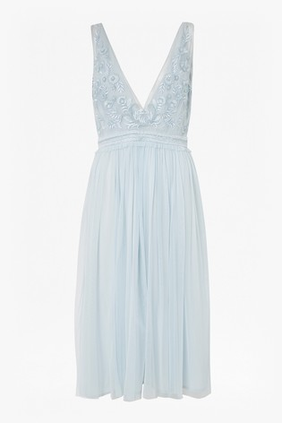 14184747f8497 Buy French Connection Blue Emelina Embellished V-Neck Dress from the ...