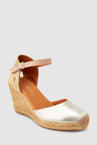 ee78d04eaec Buy Kurt Geiger Gold Leather Monty Wedge from Next Cyprus