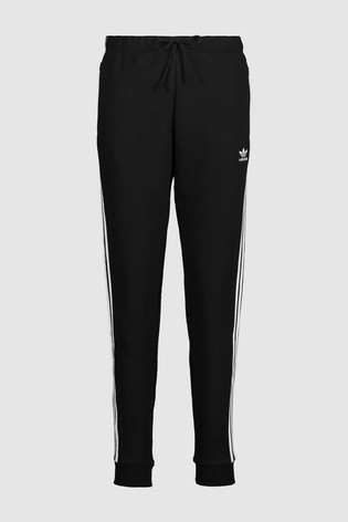 adidas Originals Black 3 Stripe Cuffed Joggers