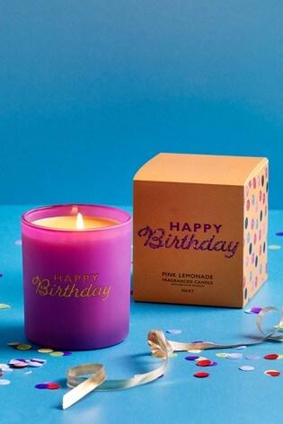 Pink Lemonade Happy Birthday Candle