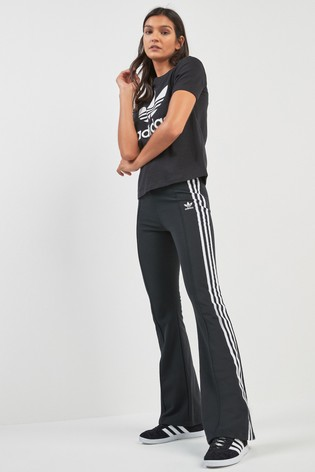 adidas Originals Black 3 Stripe Flared Joggers