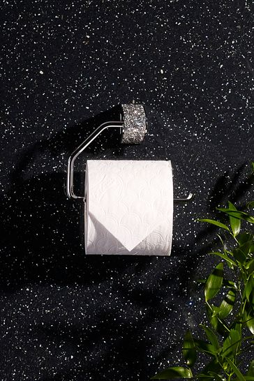 Fabric Toilet Roll Holder white or black with silver sparkle diamante ribbon// for 1 or 2 rolls