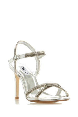 dec59faf00 Buy Dune London Silver Diamanté Strappy Heeled Sandal from the Next ...