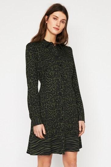dec738ca414e Buy Warehouse Green Mixed Animal Shirt Dress from Next Gibraltar