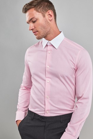 the latest a0669 99cf0 Pink Textured White Collar Slim Fit Shirt