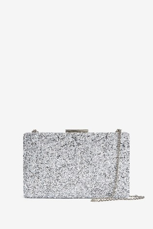 top-rated original great variety styles details for Silver Sparkle Boxy Clutch Bag