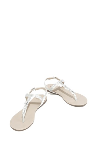 5f7263b7bf2b Buy Oasis Silver Bow Toe Post Sandal from the Next UK online shop