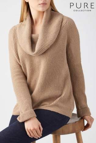 7ca16759a13 Buy Pure Collection Soft Walnut Toccato Ribbed Cowl Neck Sweater ...