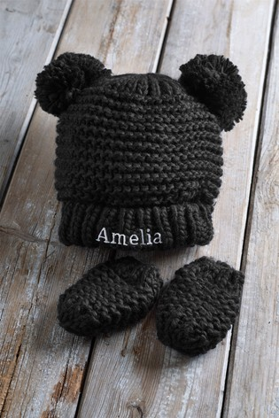 Buy Personalised Pom Pom Hat Set from the Next UK online shop 3e775b06049