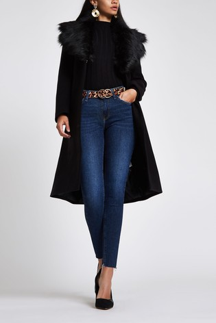 86cf71856 Buy River Island Black Faux Fur Trim Coat from Next Ireland