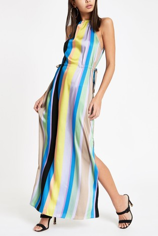 497894c9b54 Buy River Island Rainbow Stripe Halter Trapeze Maxi Dress from the ...