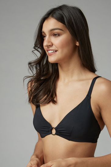 hoard as a rare commodity highly coveted range of latest selection of 2019 Black Non Pad Underwired Plunge Bikini Top