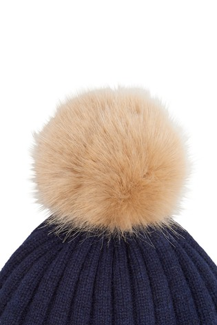822982462 Joules Navy Star Intarsia Knitted Bobble Hat