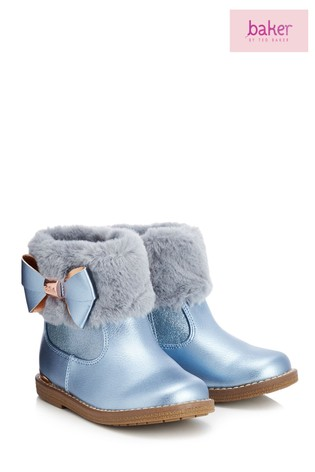 7ebaf7a5f57f20 Buy baker by Ted Baker Blue Faux Fur Cuff Boot from Next Ireland