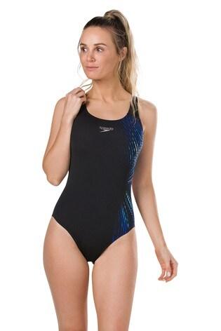 0bcb7f2cdf Buy Speedo® Black Illusion Powerback Swimsuit from the Next UK ...