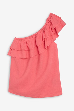a3569cd9154 Buy Coral Linen Blend One Shoulder Top from the Next UK online shop