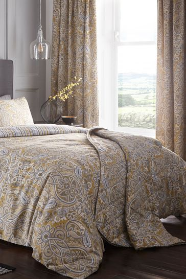 Maduri Damask Quilted Bedspread By D, Yellow And Gray Paisley Bedding