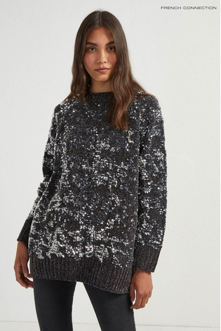 ddc6f2456479b3 Buy French Connection Grey Rosemary Sequin Knit Raglan Jumper from ...
