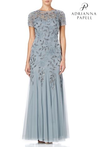 Buy Adrianna Papell Blue Floral Beaded Godet Gown From Next Spain