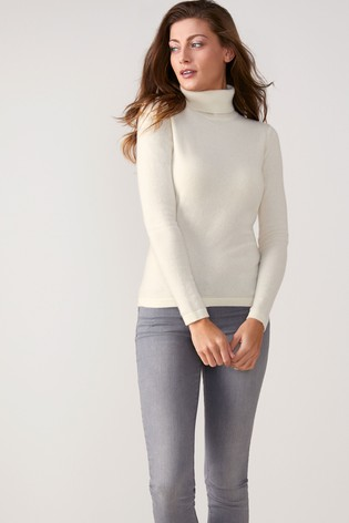 size 40 ae36c ab488 Pure Collection White Cashmere Roll Neck Sweater