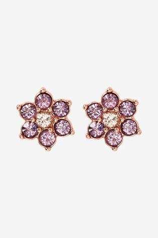a93e619d259e6 Rose Gold Tone Pink And Yellow Sparkle Flower Stud Earrings