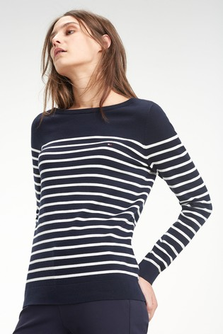 Lækker Buy Tommy Hilfiger Heritage Boat Neck Striped Sweater from the JZ-49
