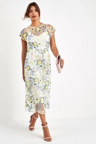 e26540a57ab46 Neon Floral Embroidered Mesh Midi Dress