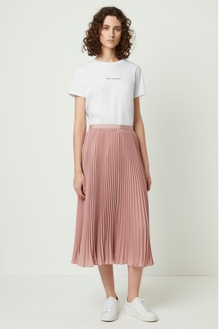 enjoy clearance price top-rated newest fast delivery French Connection Pink Crepe Light Pleated Midi Skirt