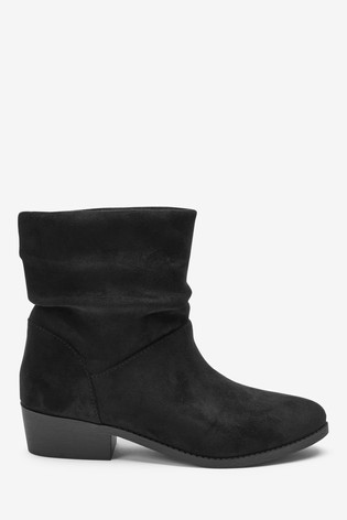 Black Heeled Slouch Ankle Boots (Older