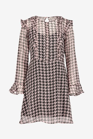 look good shoes sale united states shop best sellers River Island Pink Dogtooth Dawson Dress