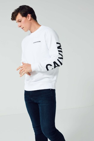 Jeans Sweatshirt From Logo Back Buy Institutional Calvin Klein White Pqnwp4U