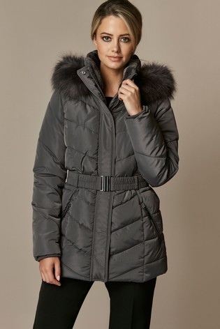 save off save up to 60% new selection Wallis Petite Lucy Short Belted Padded Coat