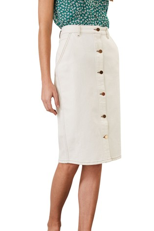 limited price price reduced best place for Phase Eight White Ellama Denim Midi Skirt