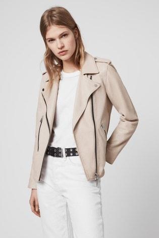 AllSaints Pale Pink Elva Leather Jacket