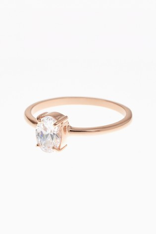 Buy Sterling Silver Rose Gold Plated Oval Solitaire Ring From The Next Uk Online Shop