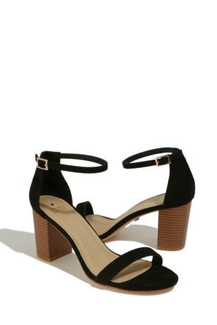 76a2456cc86 Oasis Black Reli Block Heel Sandals
