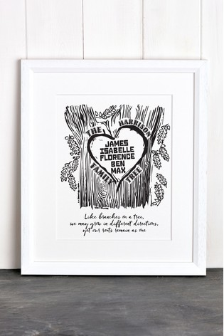 buy personalised family tree framed print by letterfest from the