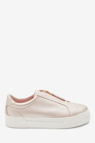 Buy Rose Gold Chunky Zip Trainers from