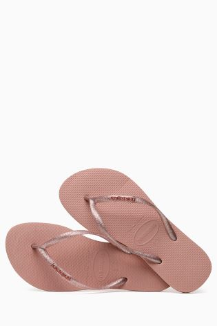 d85a9f2465a4b Buy Havaianas® Slim Logo Metallic Pink Rosa Flip Flop from Next Ireland