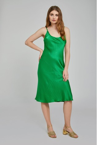 018a3bf07393e Ghost London Green Sherry Satin Slip Dress