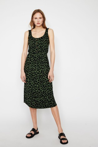 6a94e94226e6 Buy Warehouse Green Brushed Animal Print Channel Dress from the Next ...