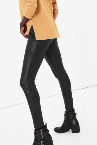 customers first shopping great fit Oasis Black Faux Leather Leggings