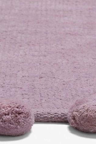 Mauve Pom Edge Soft Touch Rug