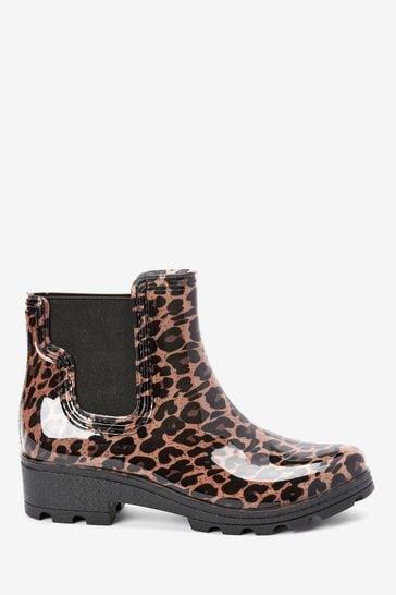 Leopard Ankle Wellington Boots