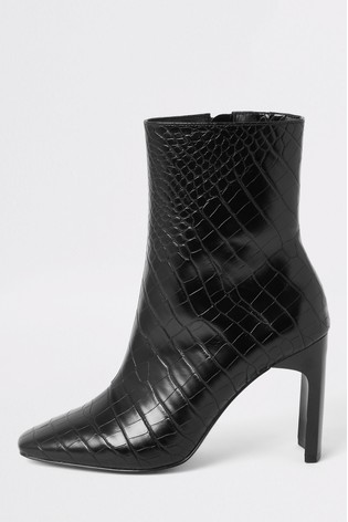 clearance prices super cheap authentic River Island Black Croc English Ankle Boots